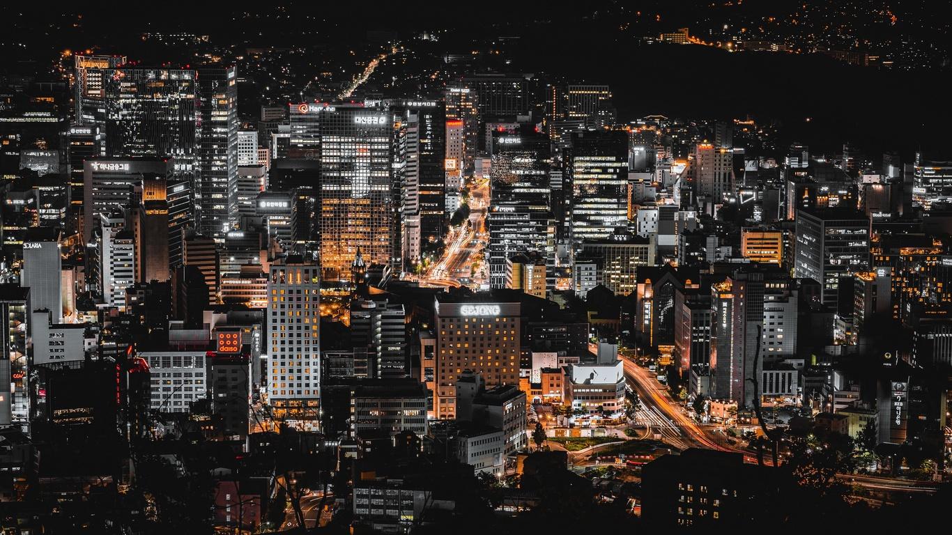сеул, дома, южная корея, мегаполис, ночь, город
