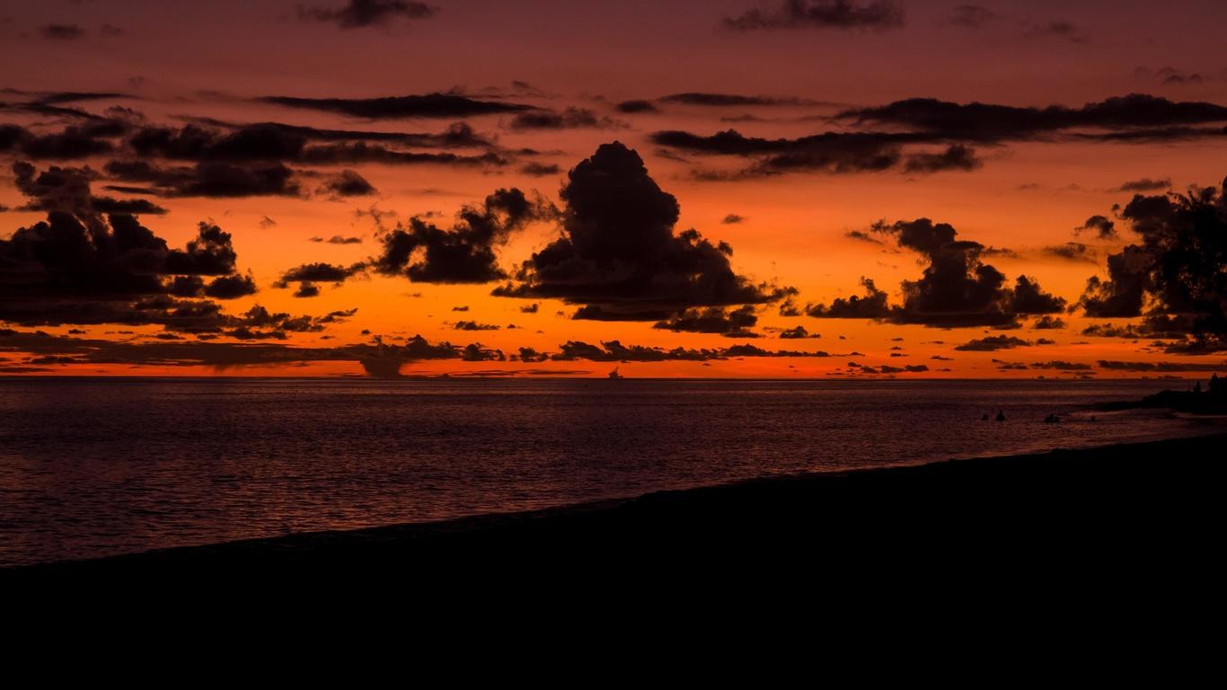 закат, облака, море, пляж, горизонт