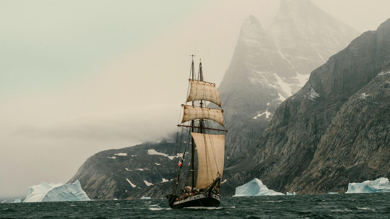 гренландия, парусник, берег