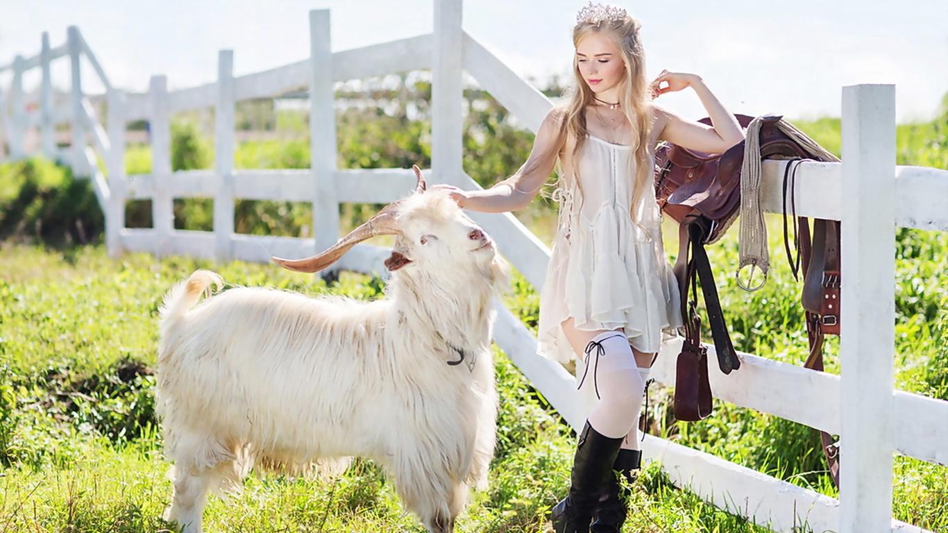 farm princess, девушка, модель, животное, козёл
