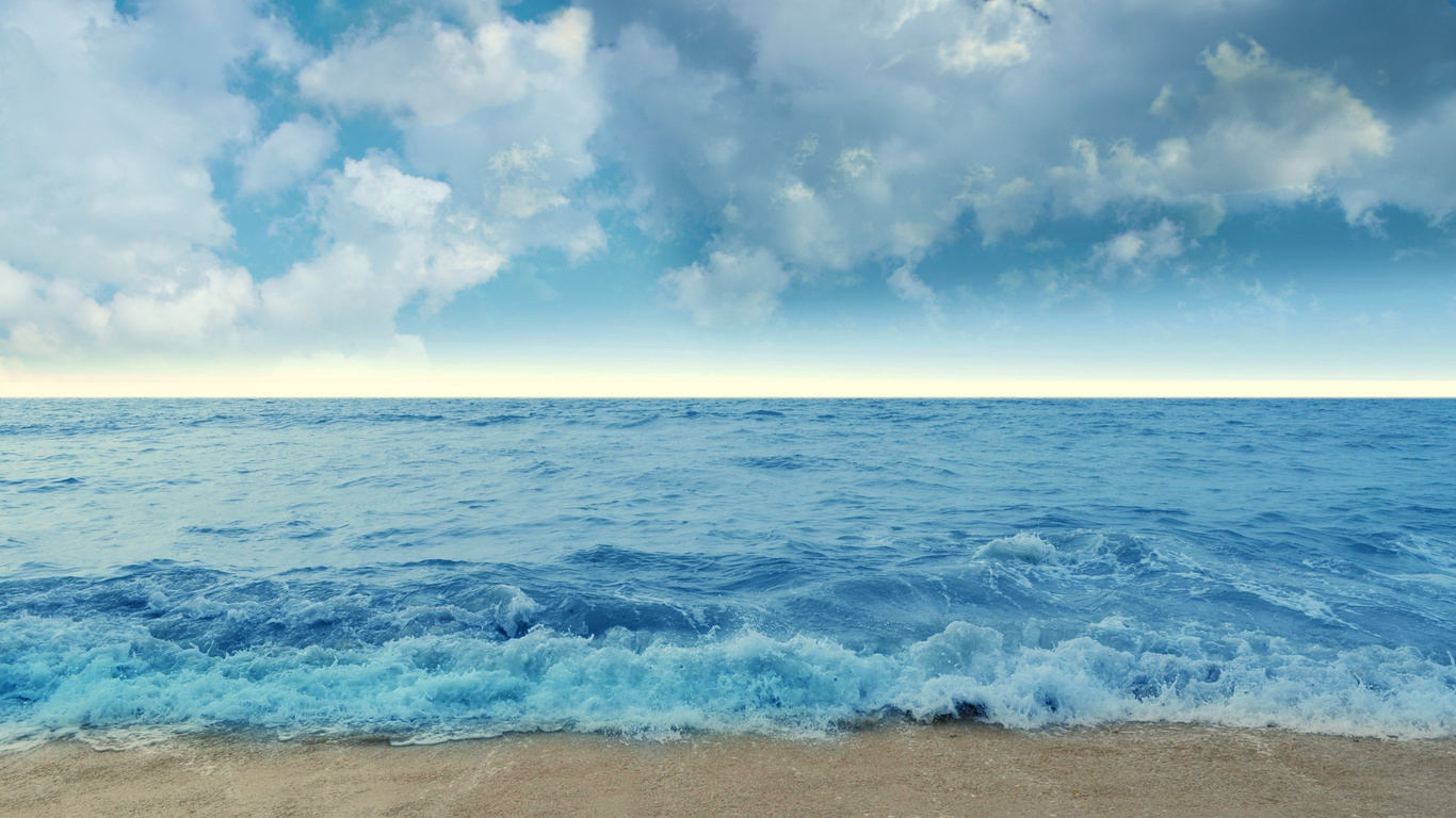 пейзаж, океан, облака