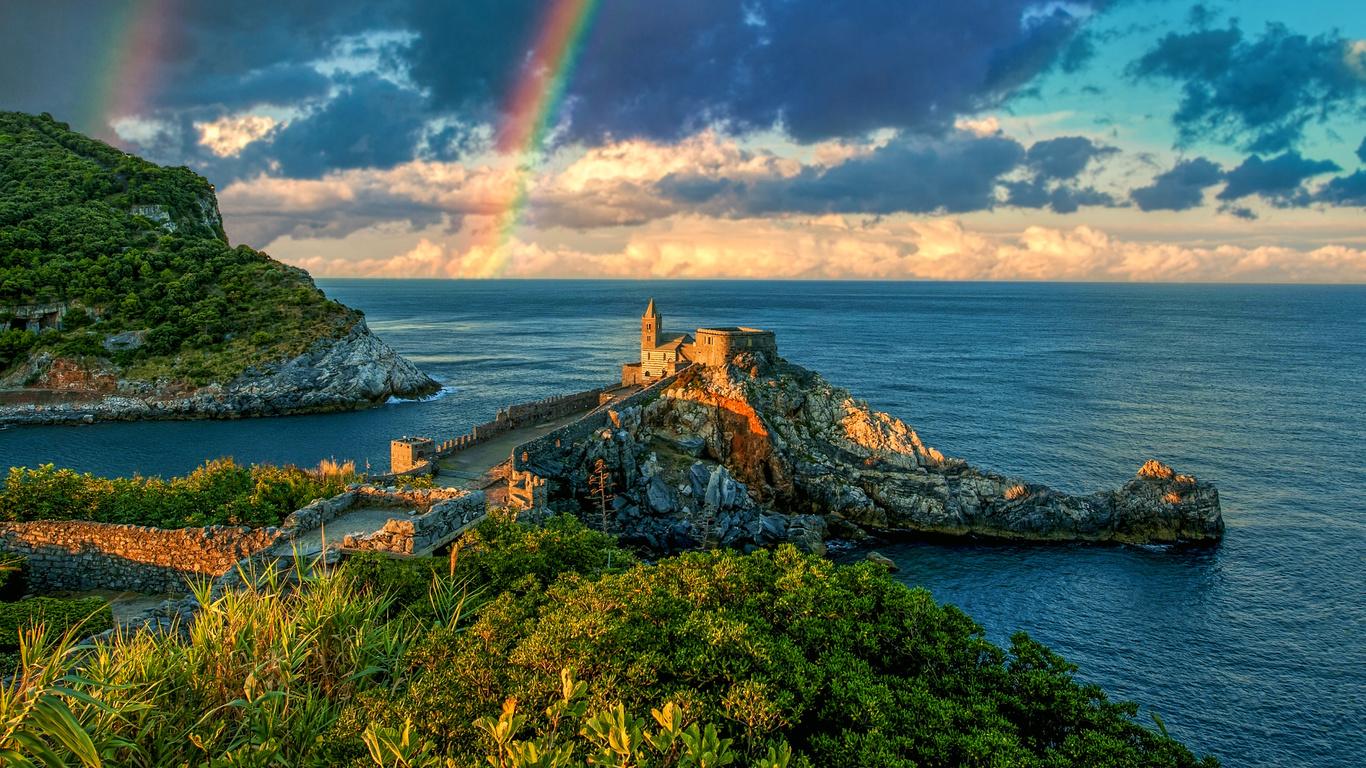 замок, берег, море, небо