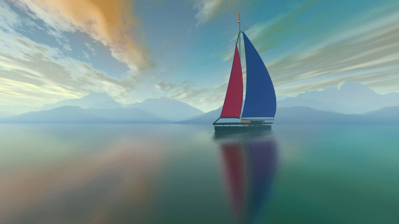 океан, небо, яхта, отражение