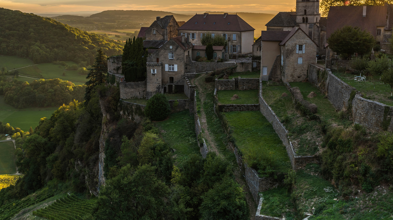 франция, дома, chateau-chalon, забор, город