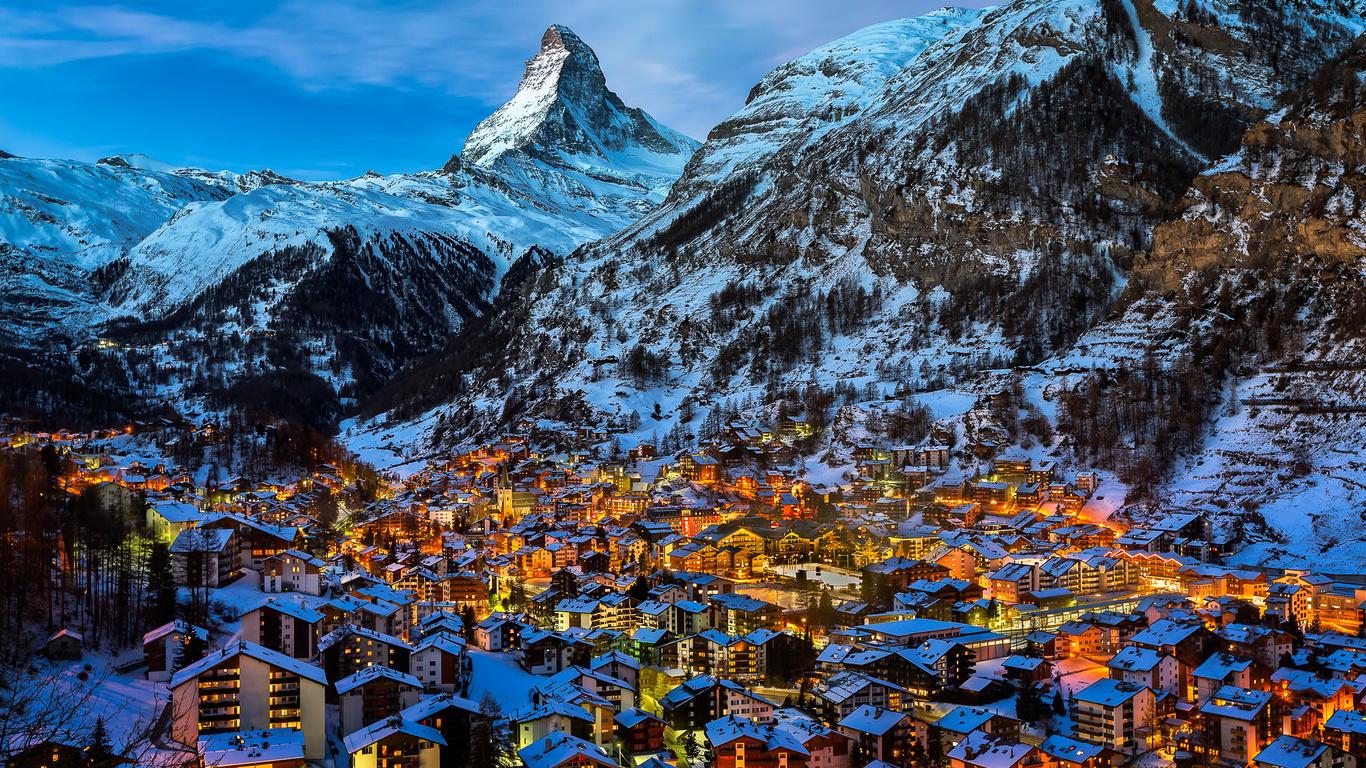 долина, церматт, маттерхорн, пик, рассвет, швейцария, город, горы, пейзаж