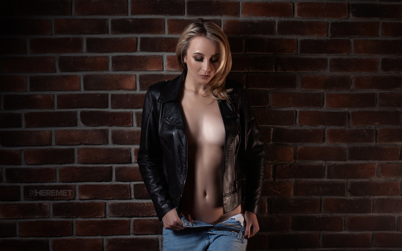 women, blonde, jeans, ivan sheremet, bricks, wall, belly, leather jackets, black jackets, women indoors, boobs