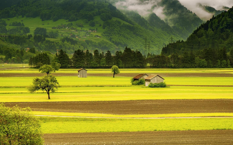 хижины, горы, деревня