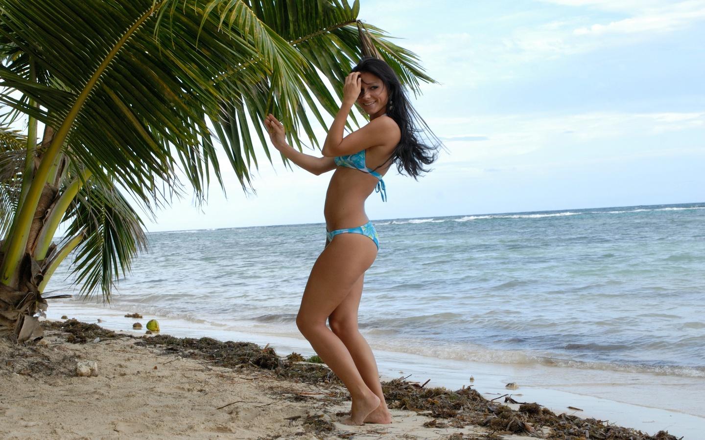 melisa mendiny, берег, пляж, пальмы