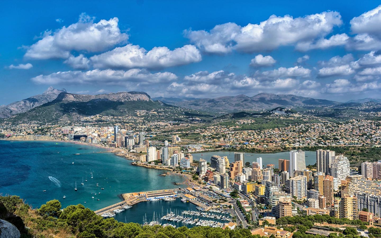 испания, дома, побережье, причал, calpe, alicante, холмы, город