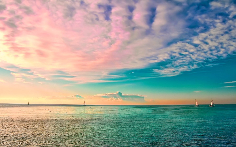 пейзаж, океан, небо