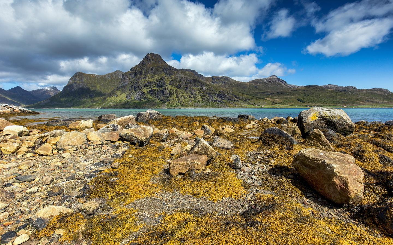 норвегия, лофотенские острова, горы, камни, облака, природа