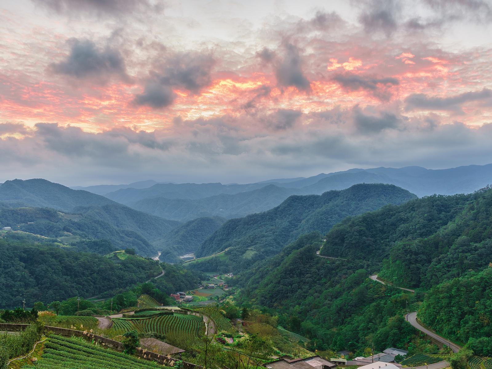 тайвань, пейзаж, горы, небо, поля, лес, taipei, природа