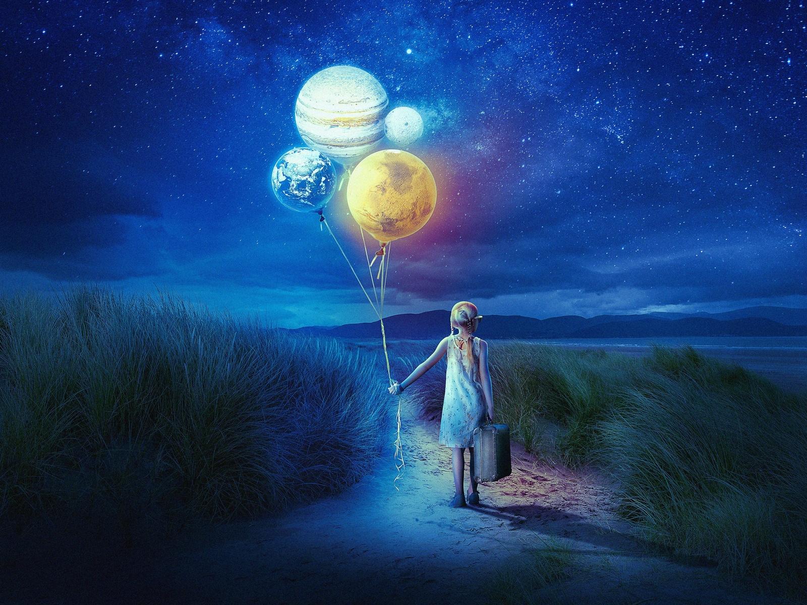 ночь, девочка, шары, небо, звёзды