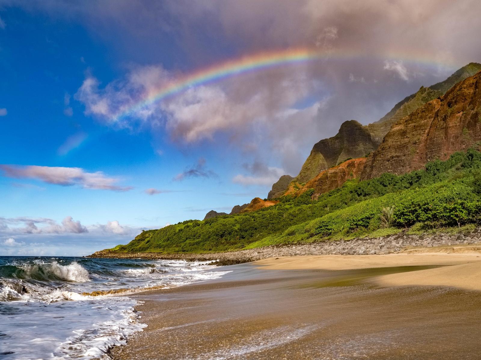 пляж, побережье, радуга, волны, склон