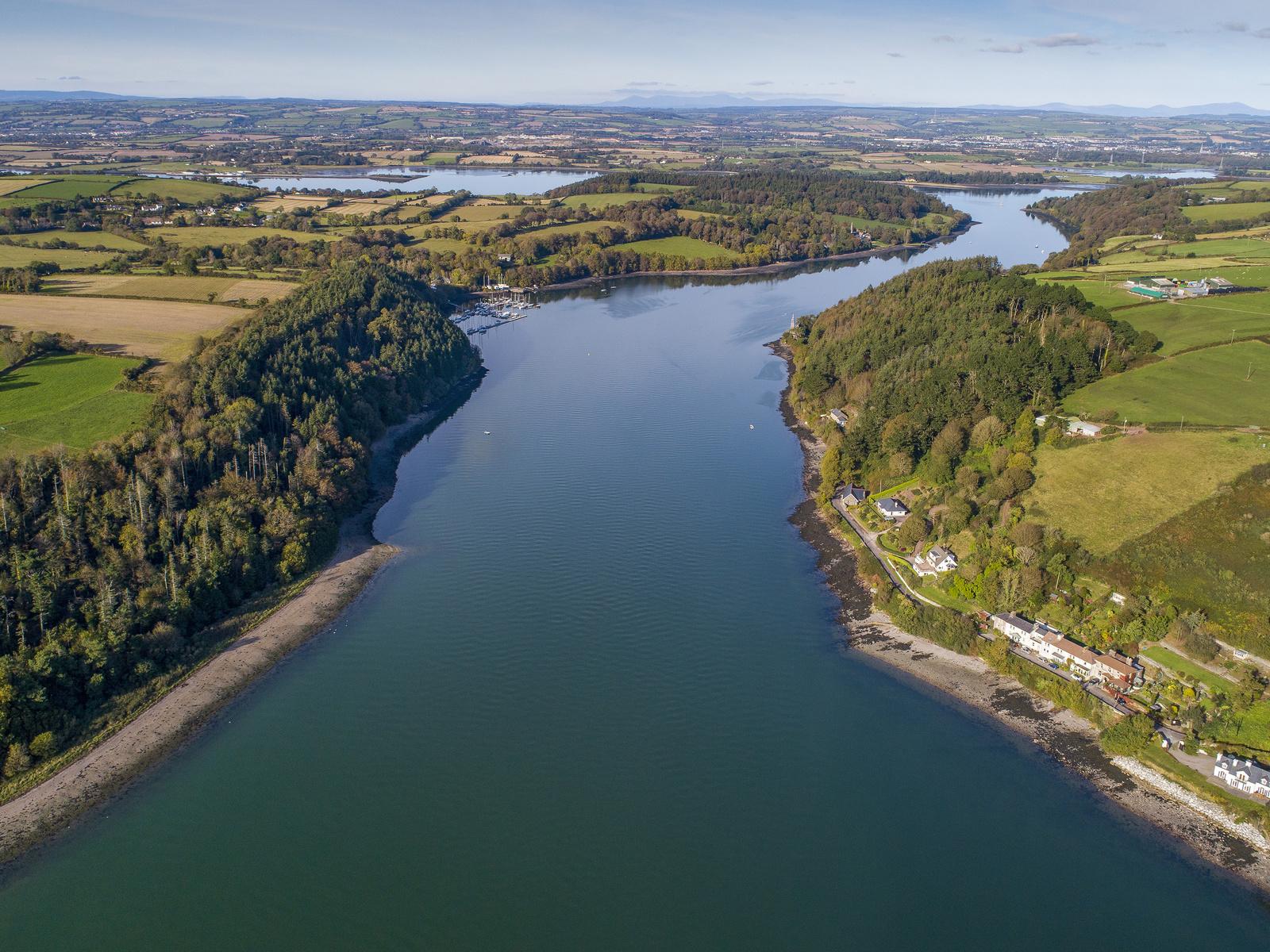 ирландия, река, поля, дома, belgrove, munster, сверху, природа