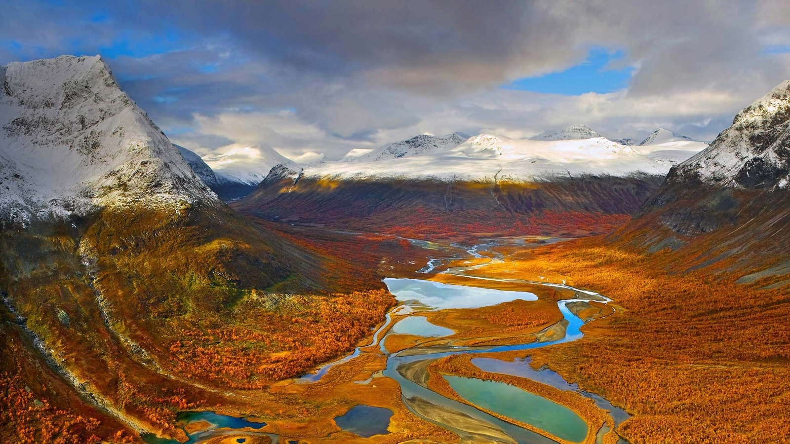 небо, облака, горы, вершины, снег, долина, река