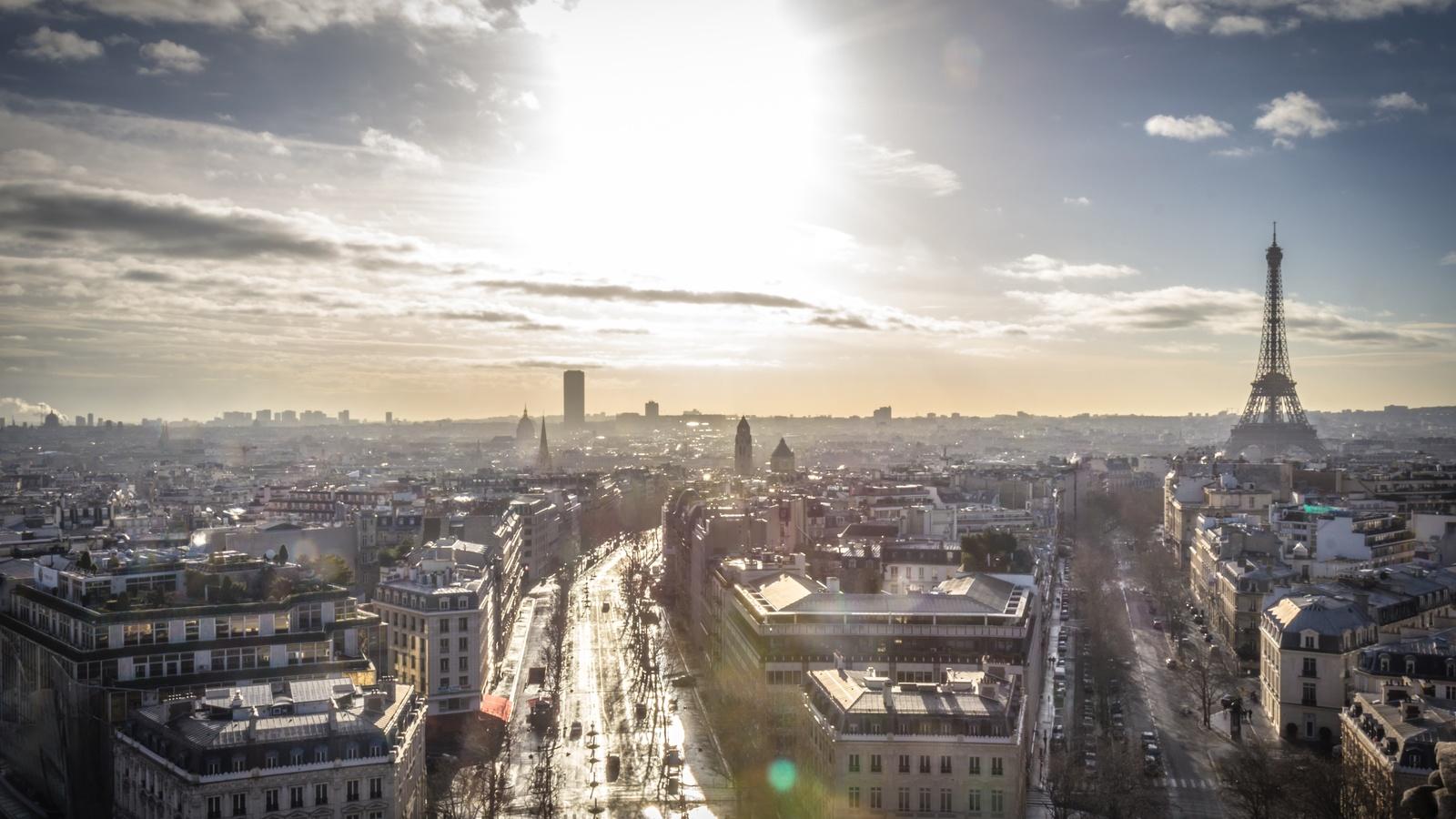 франция, небо, париж, горизонт, сверху, город