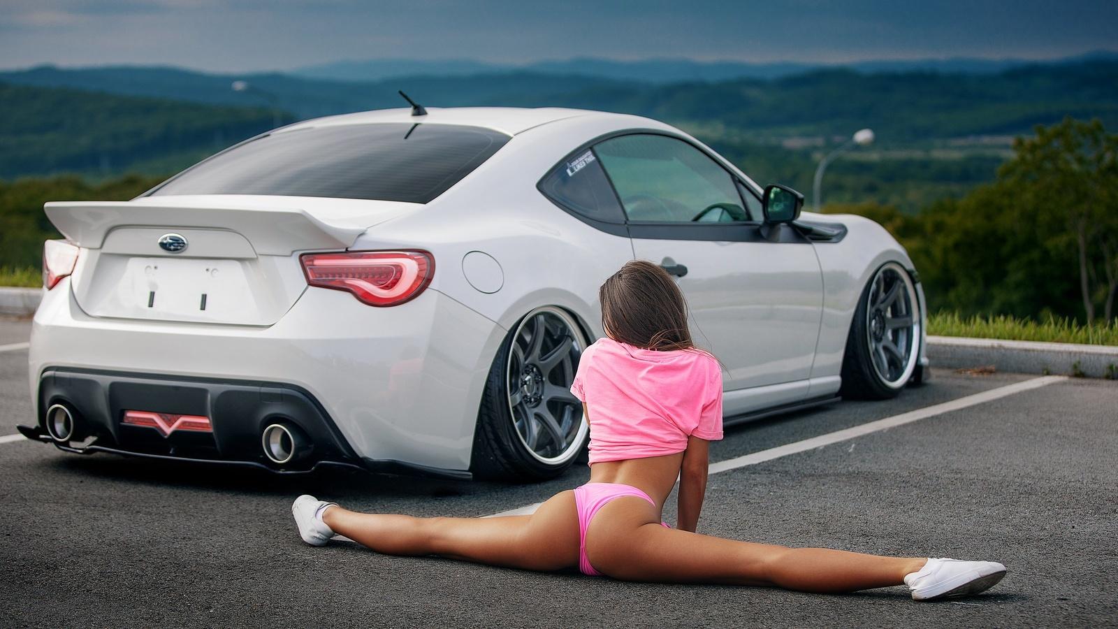women, ass, sneakers, women outdoors, car, t-shirt, pink clothing, brunette, flexible, women with cars, subaru, parking lot