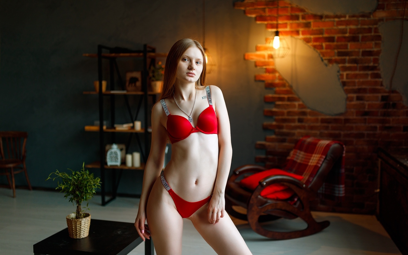 women, belly, red lingerie, plants, tattoo, light bulb, wall, chair, women indoors, pink nails, necklace, cleavage, blonde