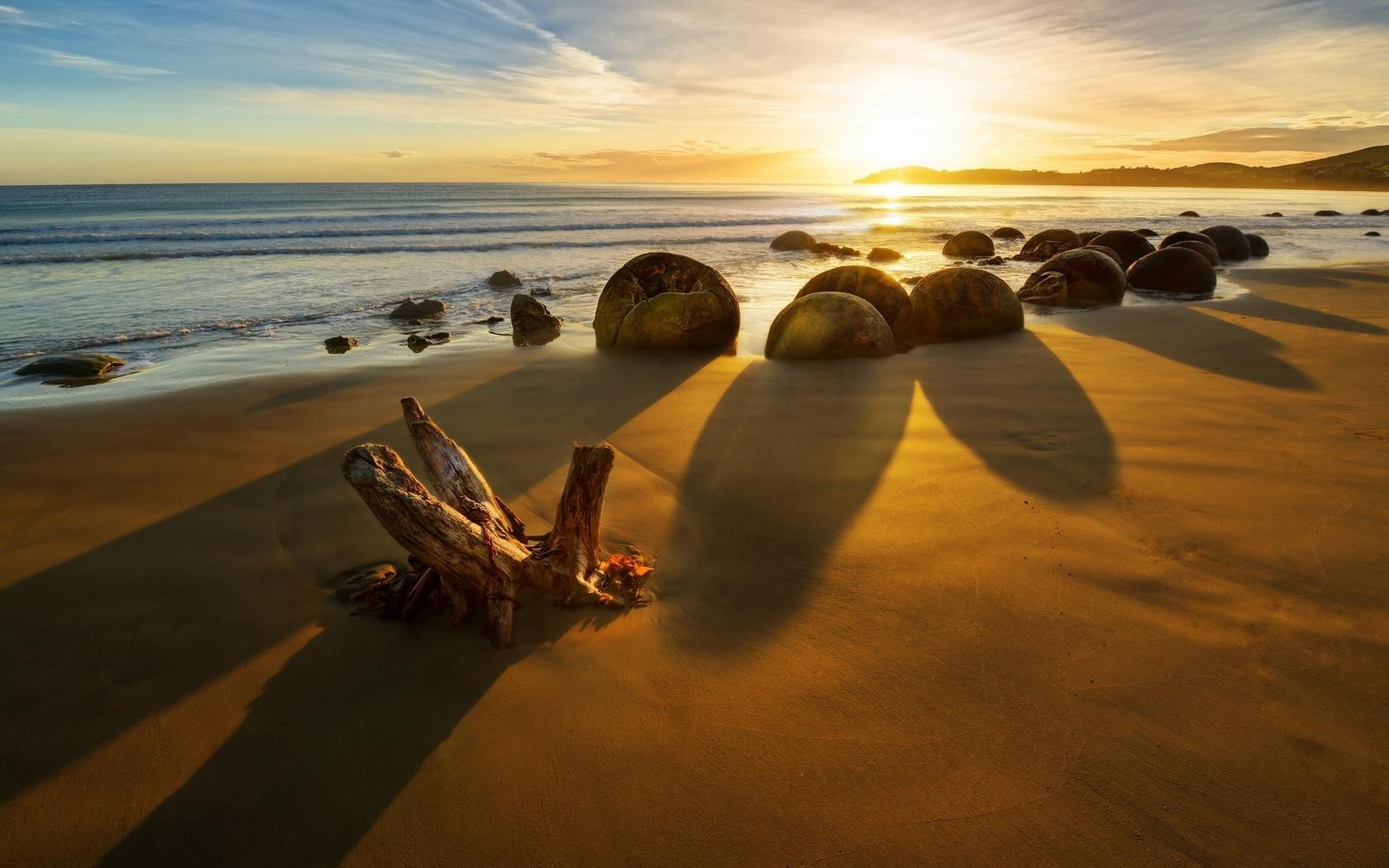 новая зеландия, море, камни, закат, скалы, пляж