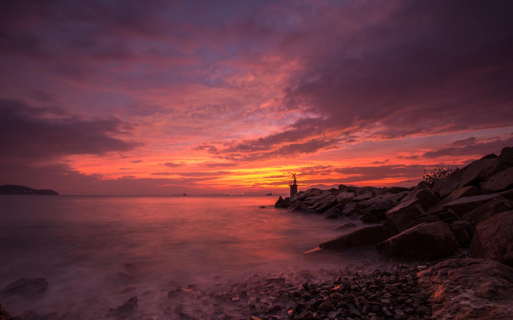 море, пейзаж, маяк, закат, природа