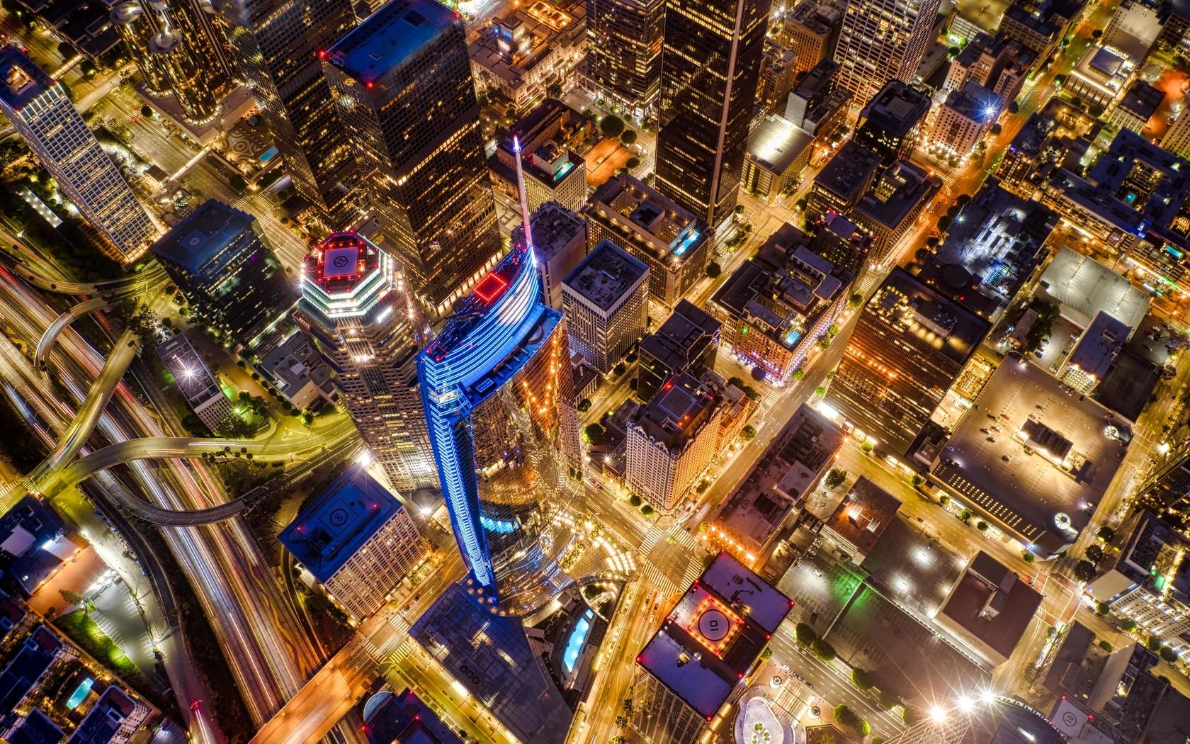 ночной город, здания, свечение, вид с воздуха