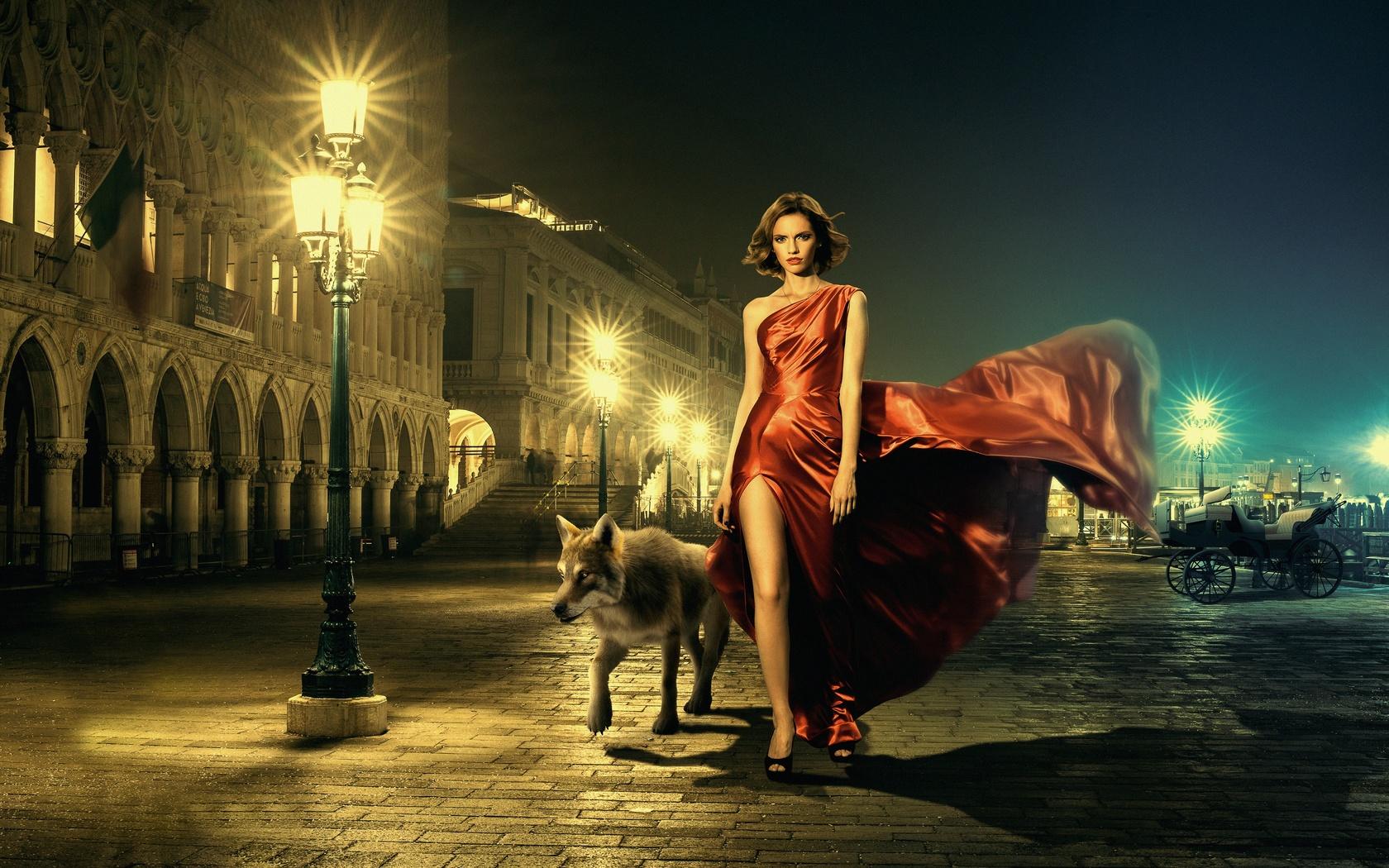 девушка, ночь, город