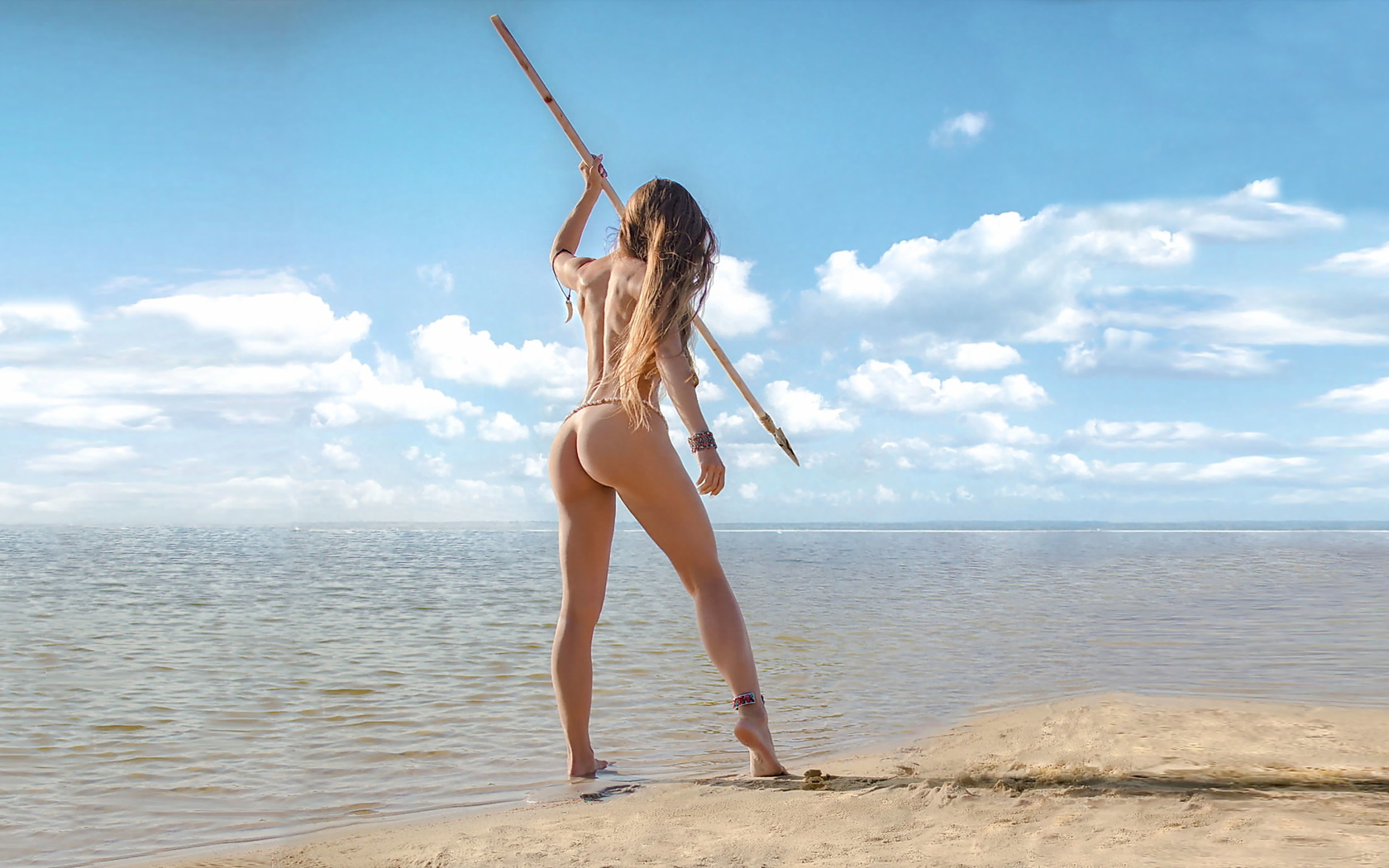 девушка, амазонка, копьё, море, вода, песок, небо, голубое