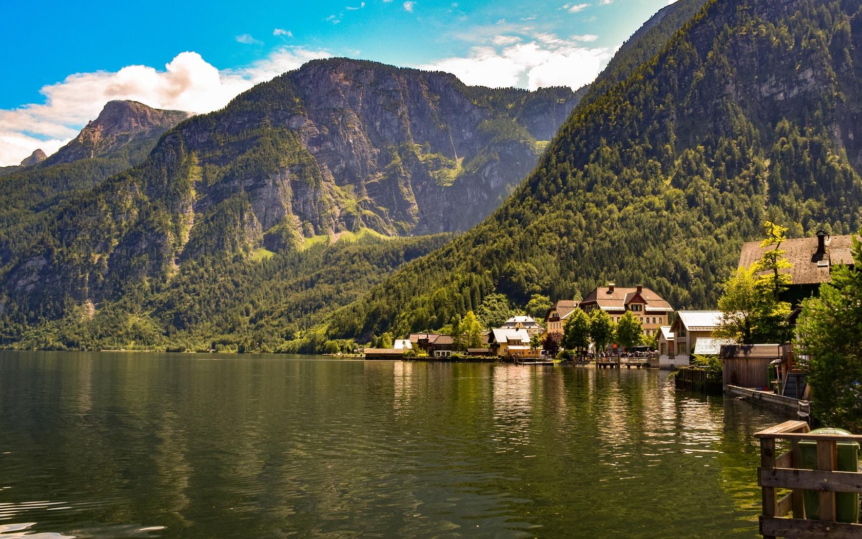 австрия, горы, озеро, пейзаж, bad goisern, gmunden, город