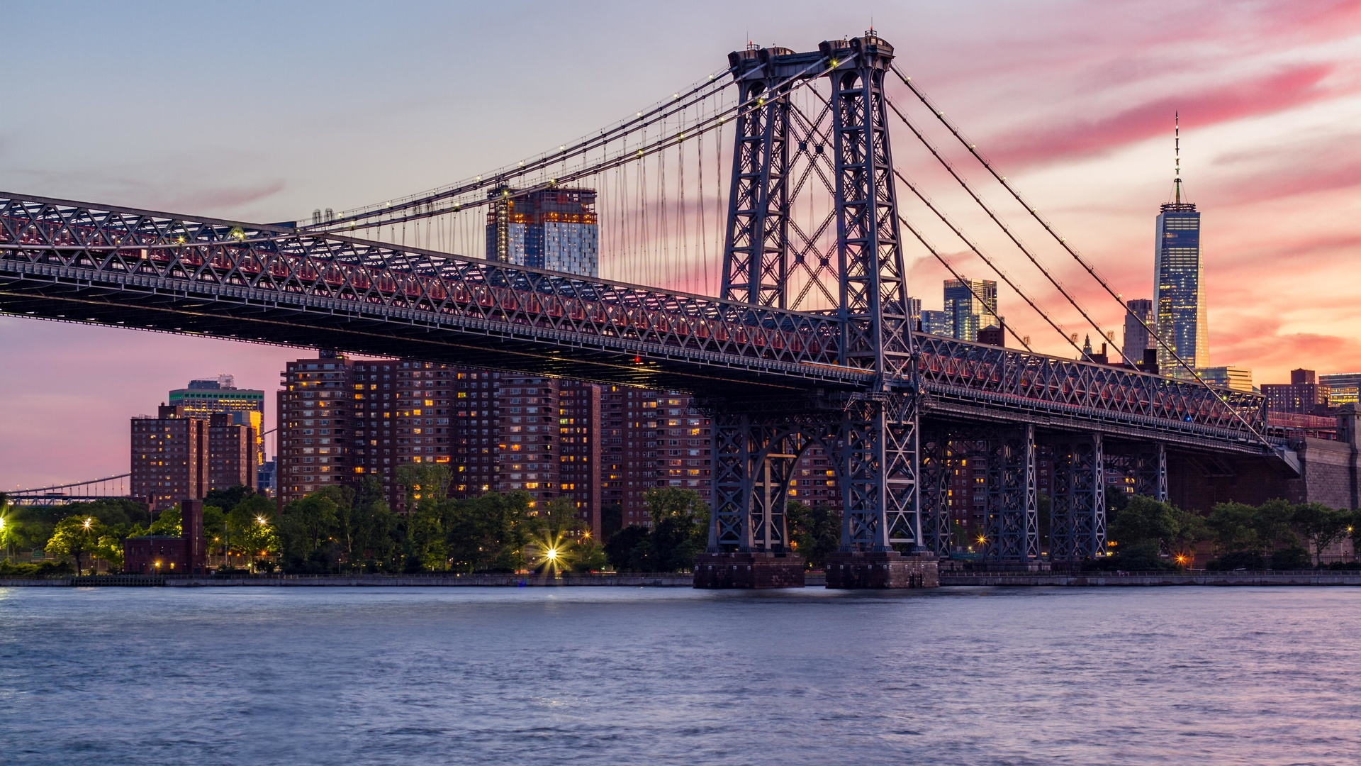 мост, архитектура, здания, город, вечер