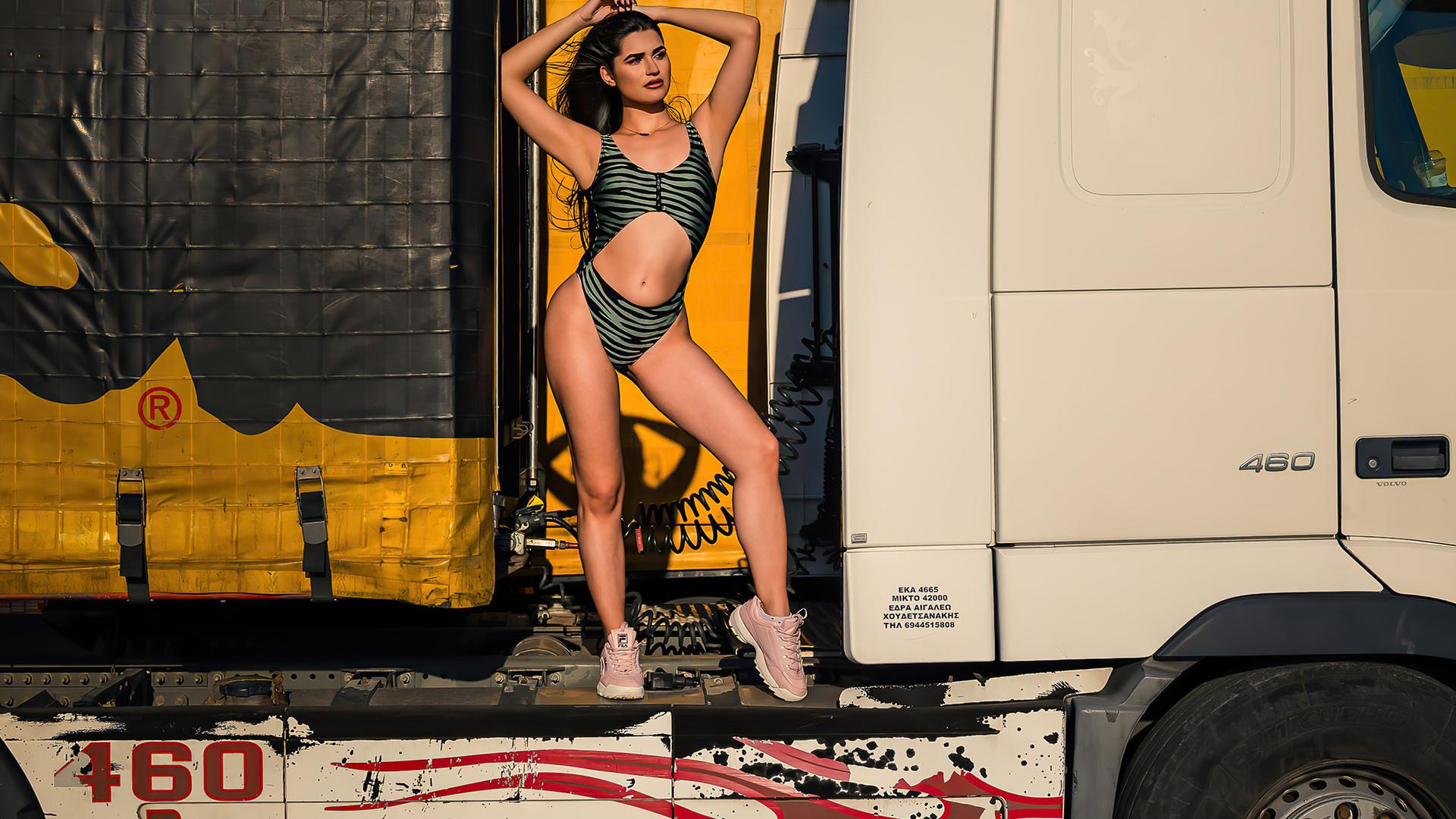 women, swimwear, sneakers, armpits, brunette, arms uplong hair, animal print, truck, belly, women outdoors