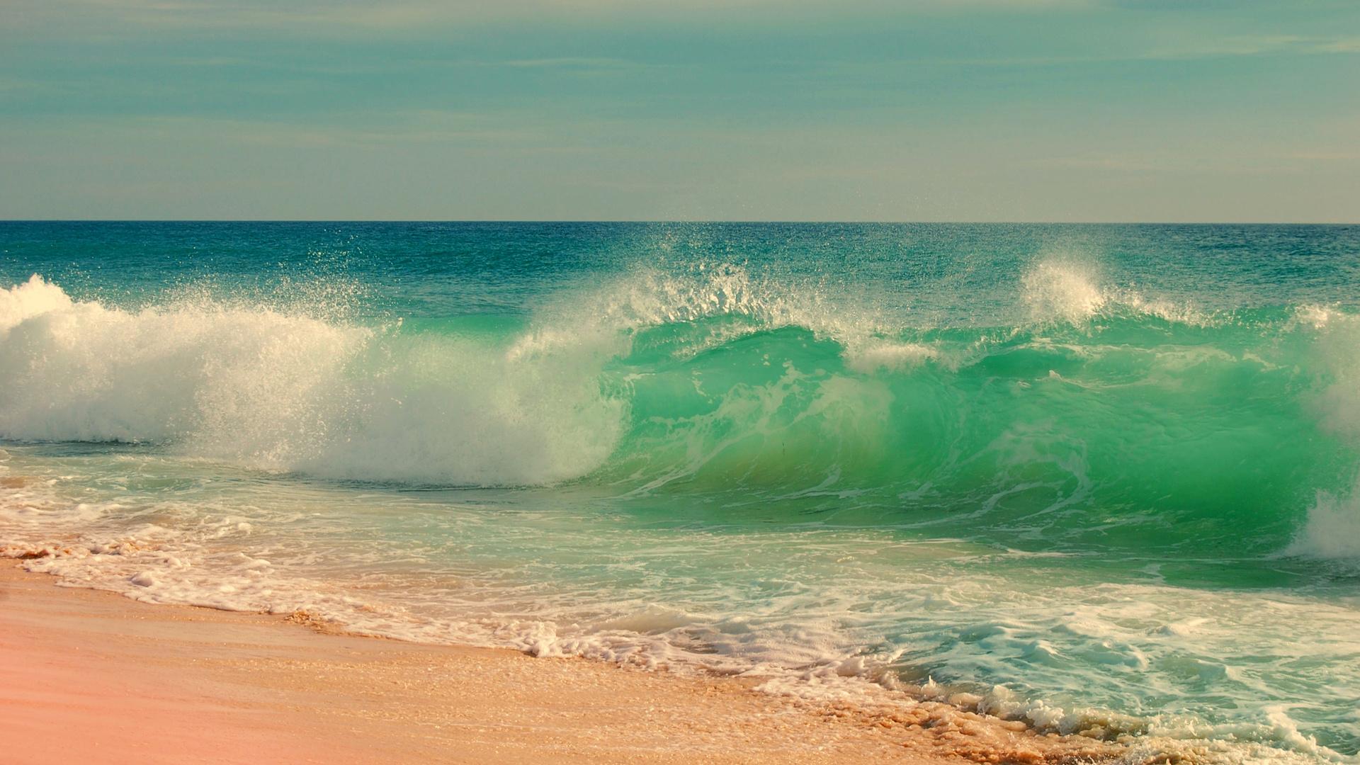 пейзаж, прибой, океан