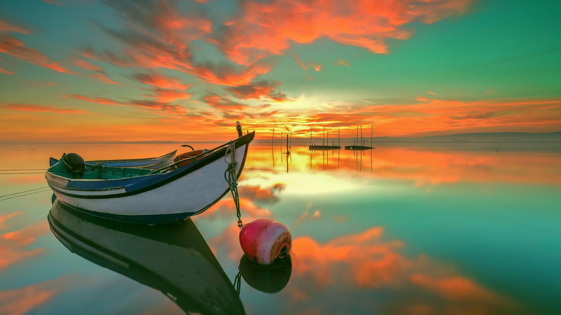 лодка, заря, море