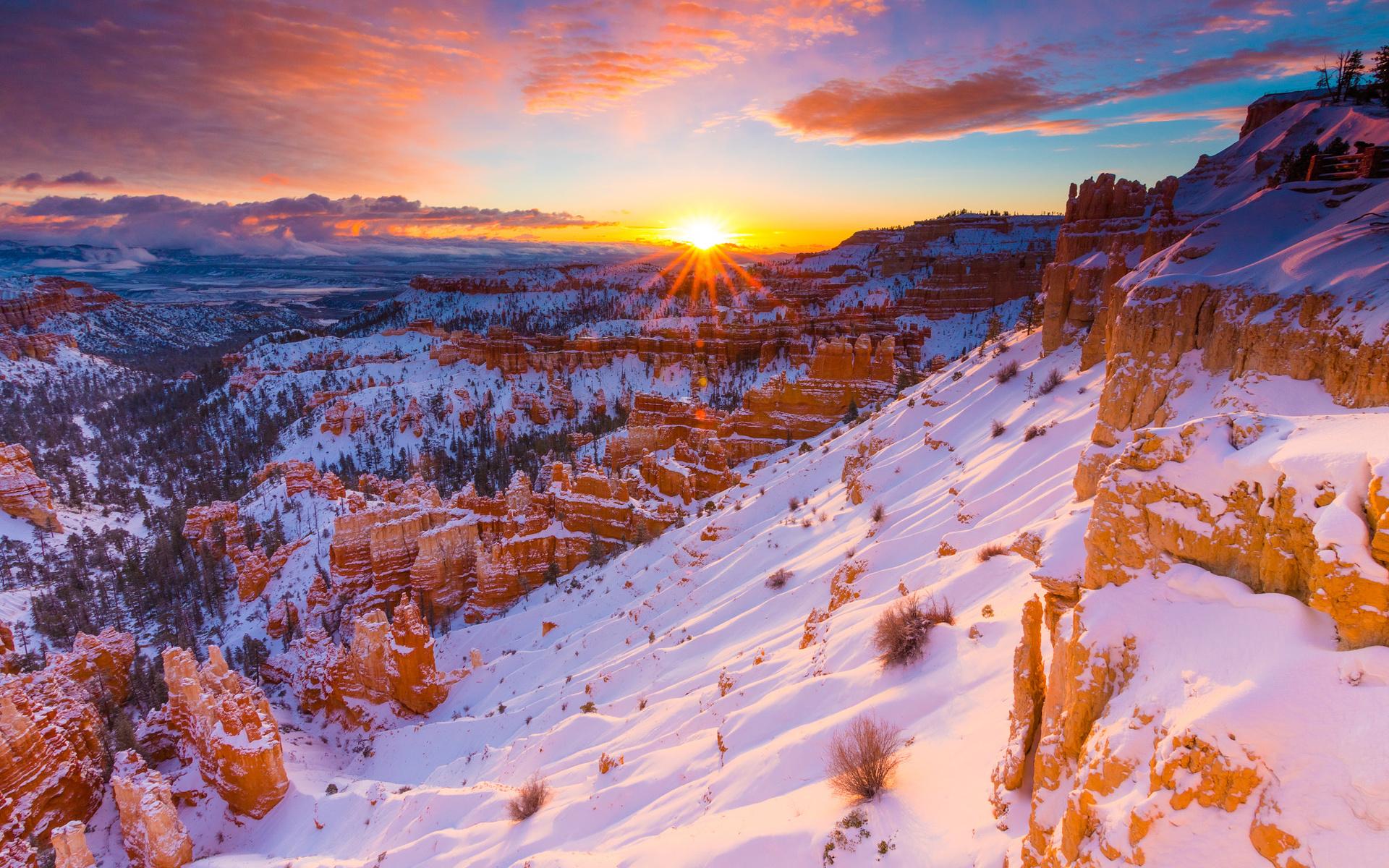 bryce, canyon, utah, national park, горы, скалы, закат, небо, пейзаж