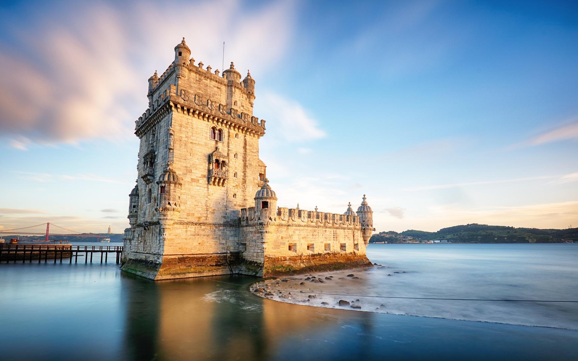 португалия, крепость, побережье, небо