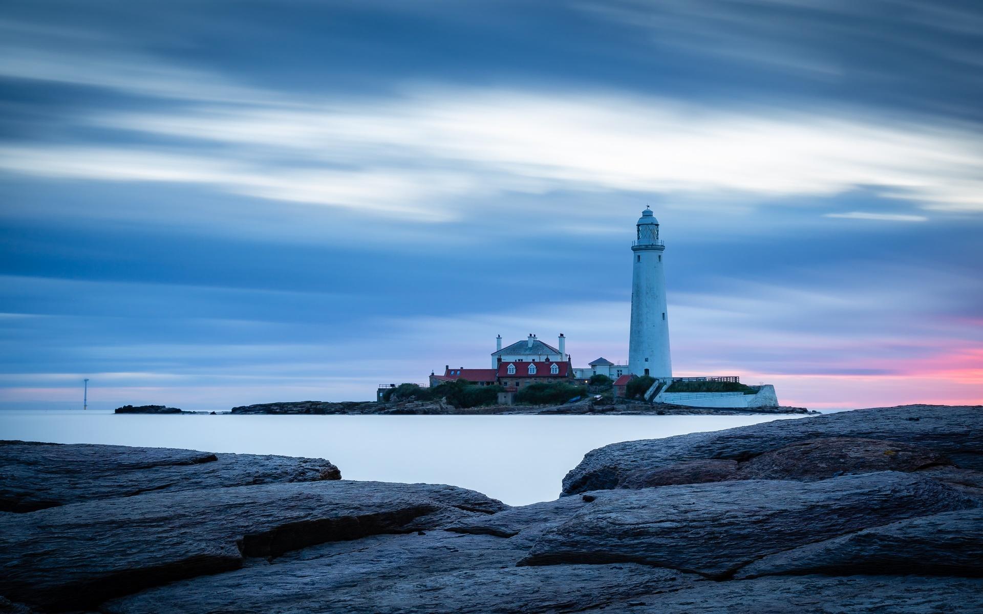 маяк, закат, берег, небо, облака, здания