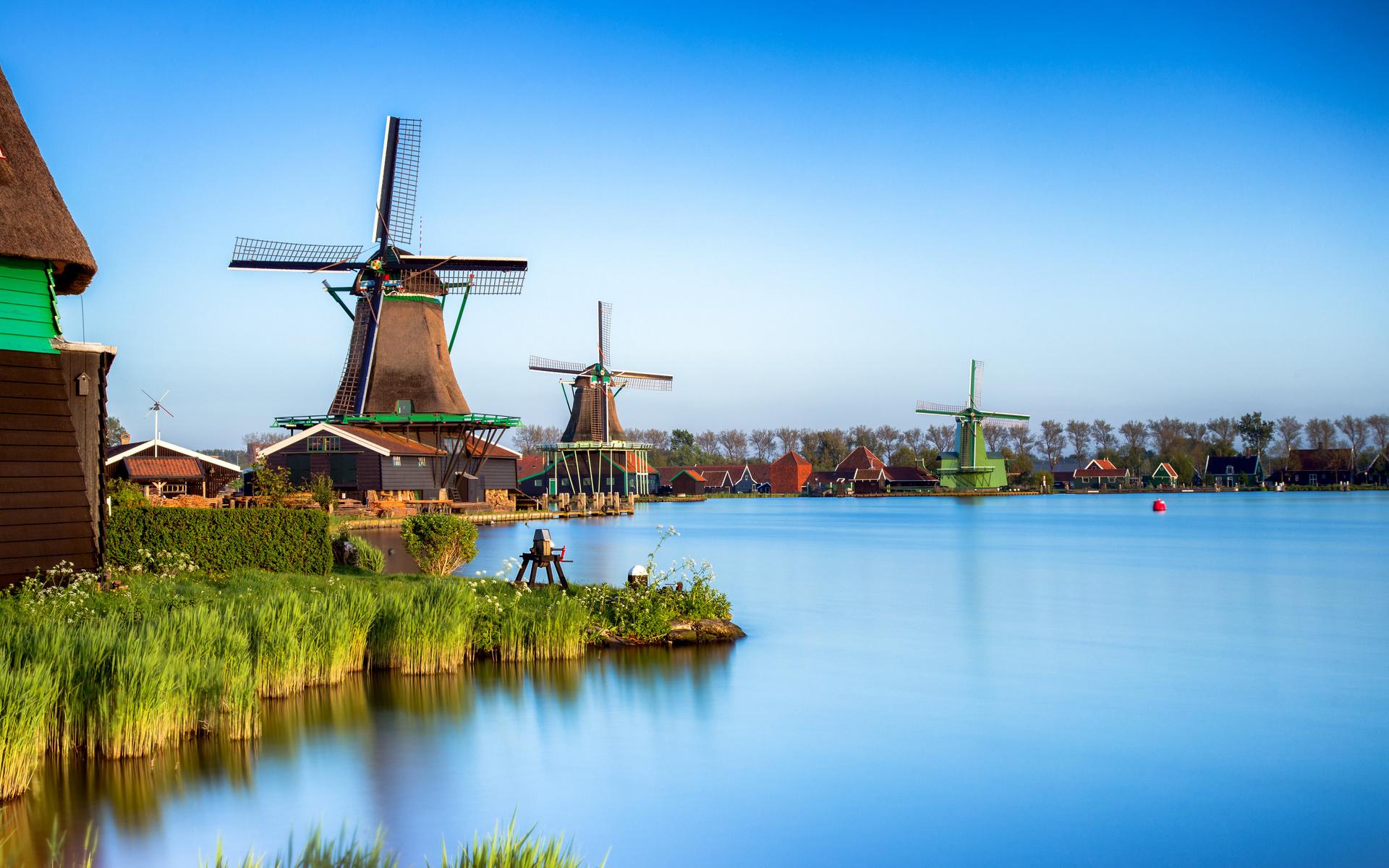 нидерланды, zaanse schans, zaandam, водный канал, мельница, природа