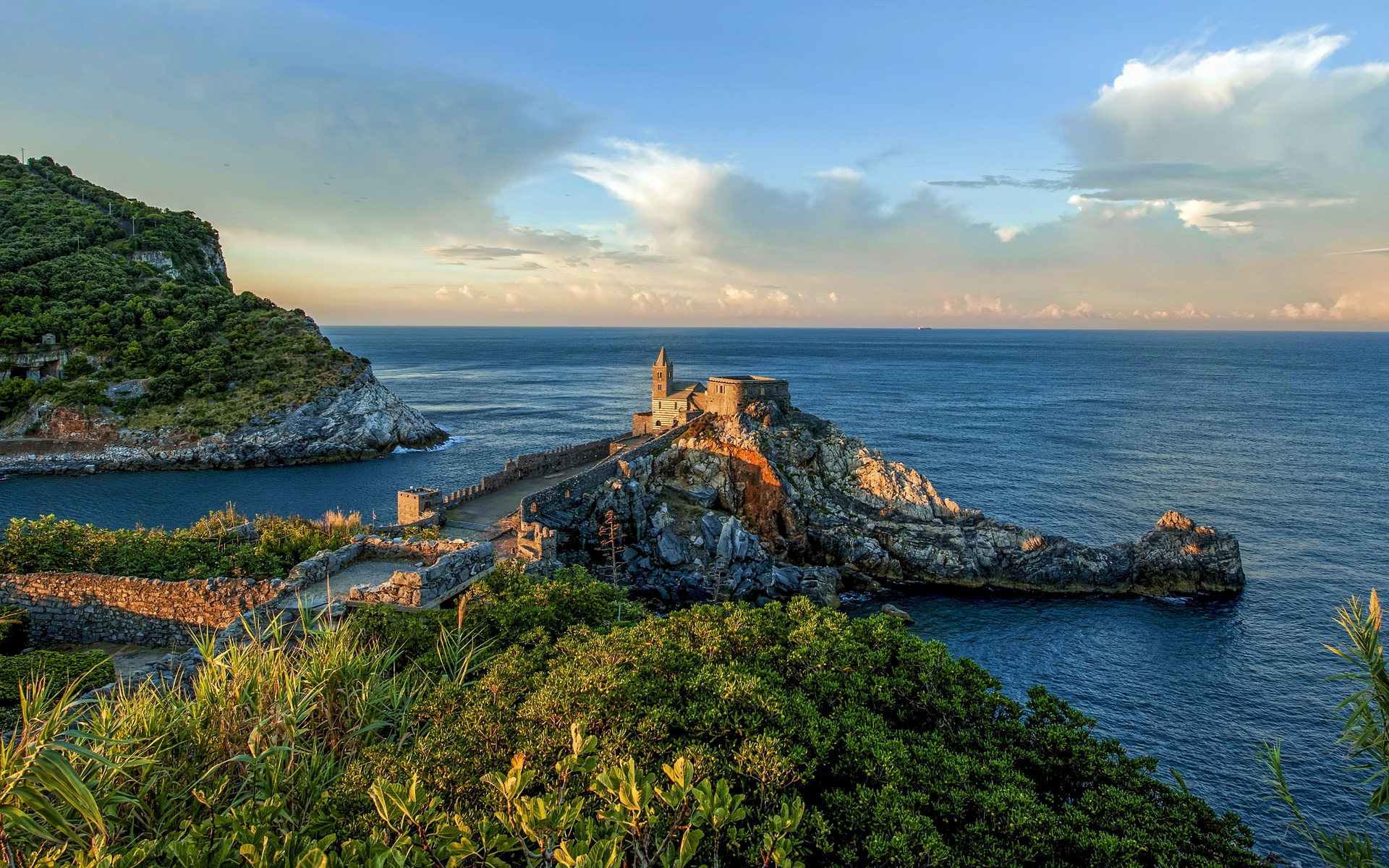 portovenere, 4k, castle, coast, sunset, beautiful nature, italy, liguria