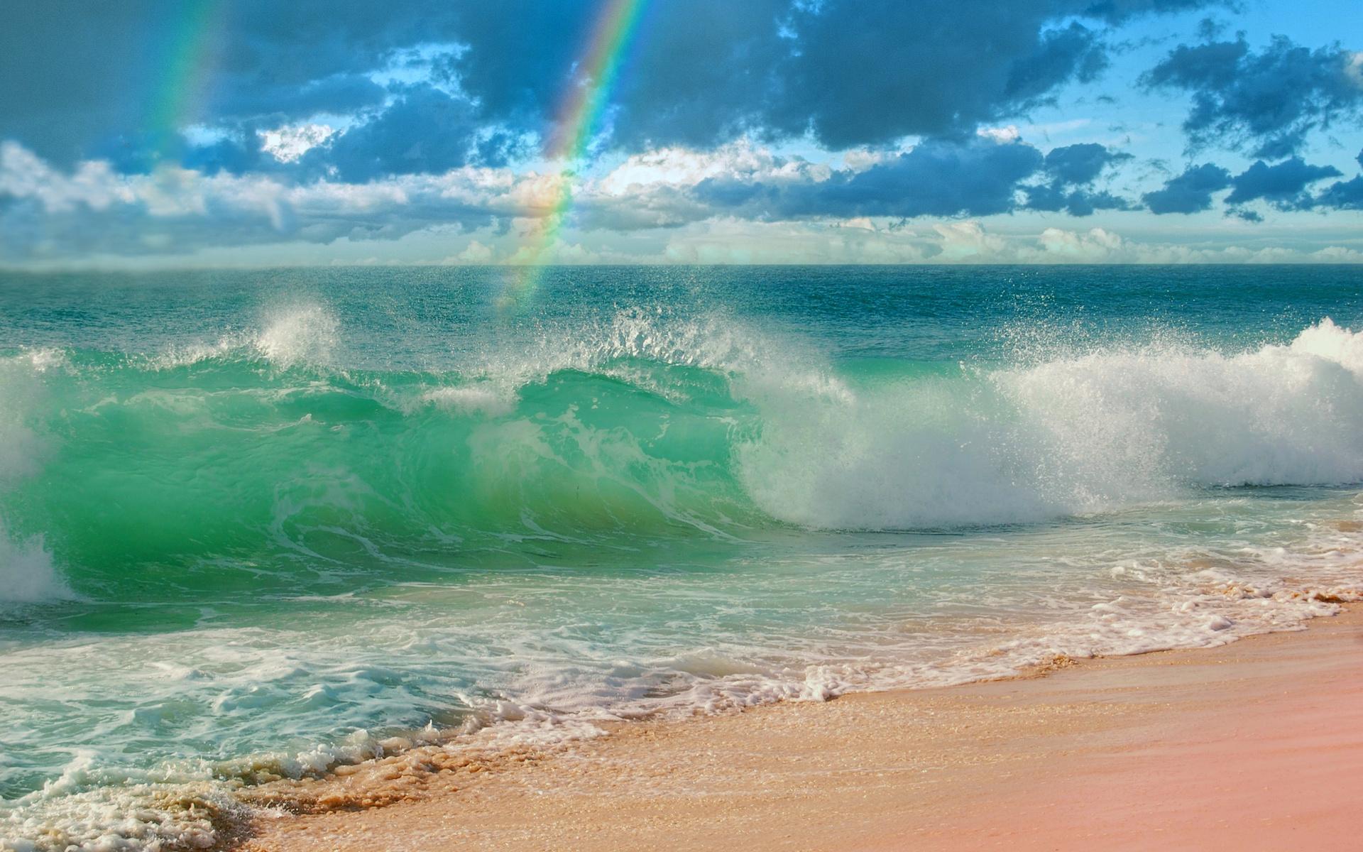 океан, радуга, небо