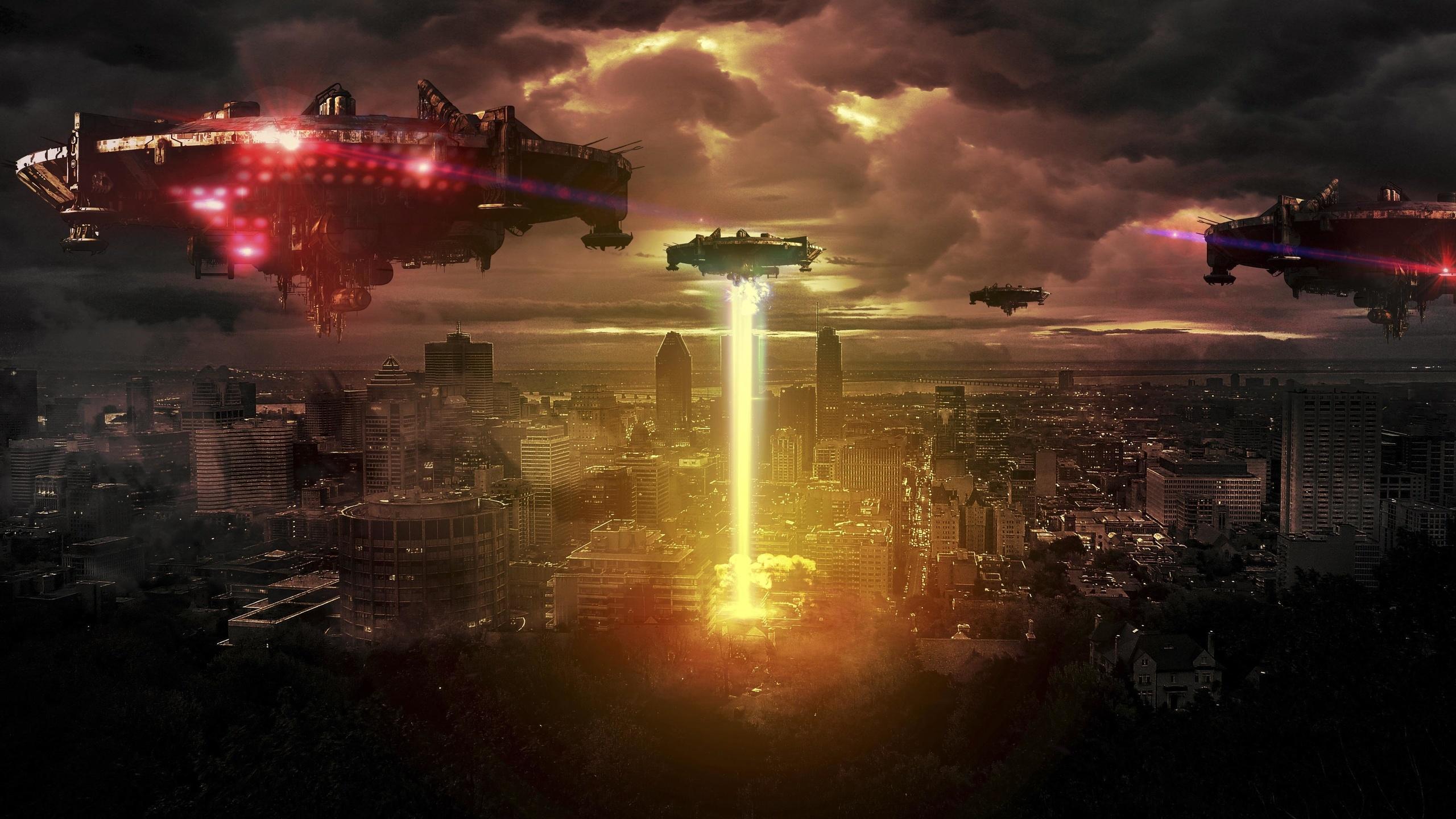 космические корабли, фэнтези, город, ночь