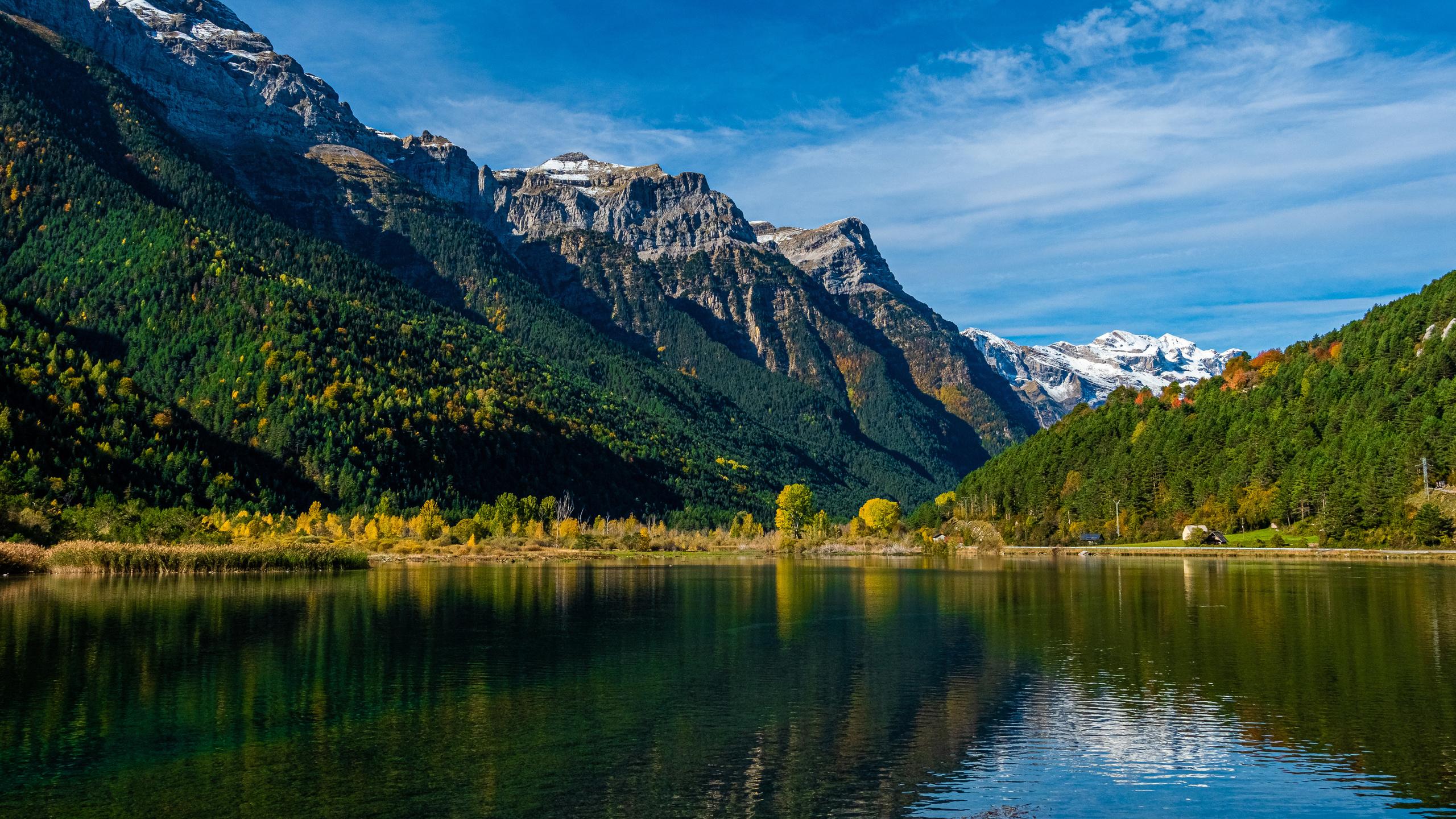 испания, горы, озеро, лес, pirineos, природа