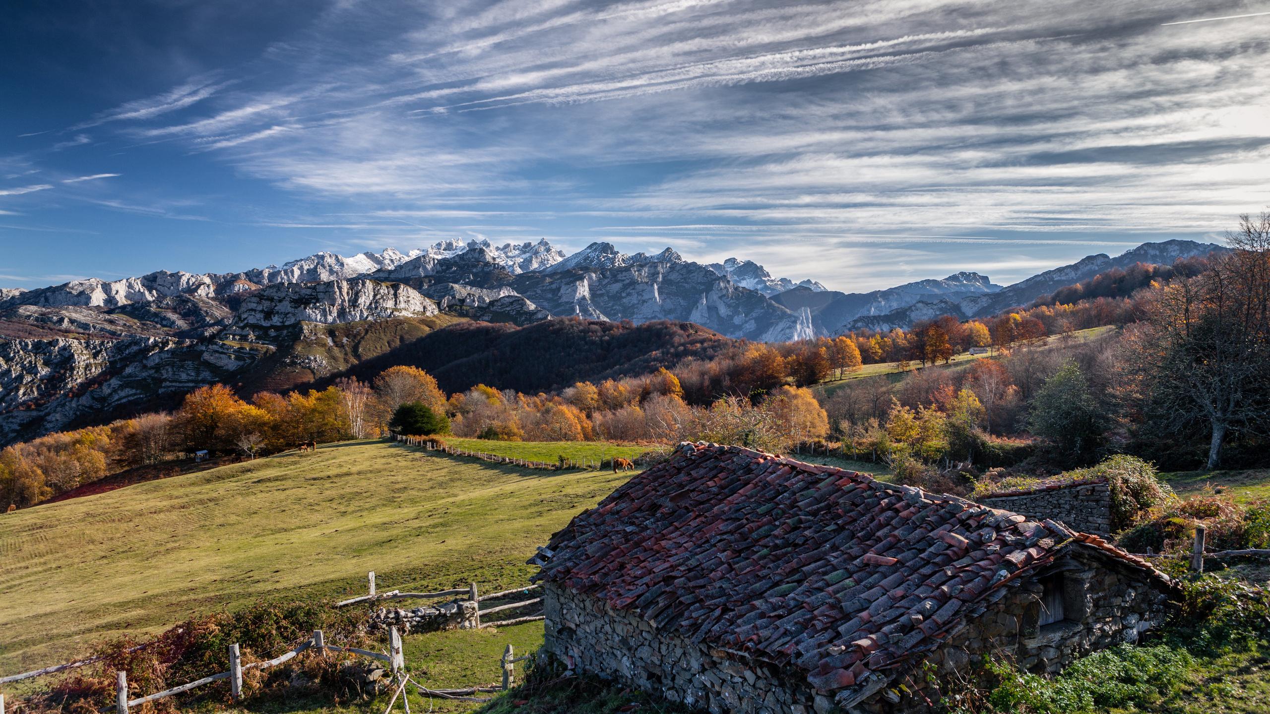 испания, горы, небо, дома, asturias, ponga, облака, крыша, природа