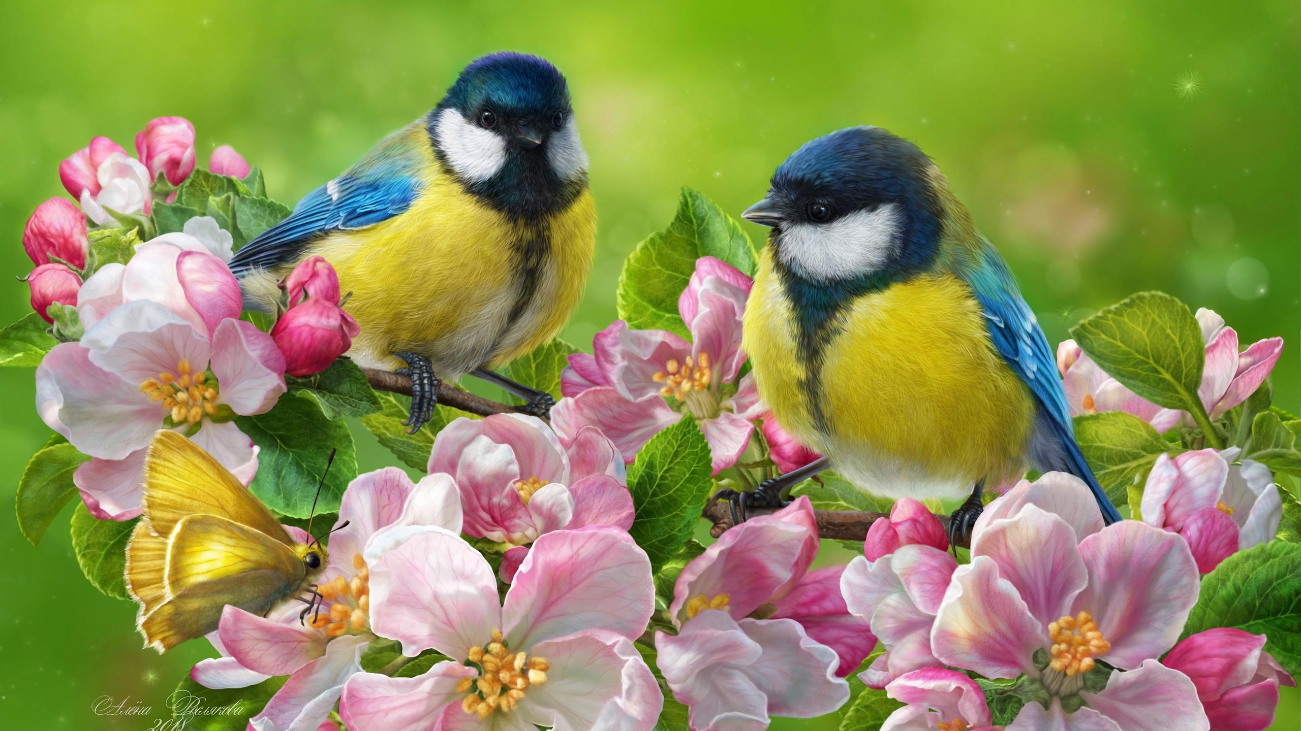 синица, птица, цветы, яркие, арт