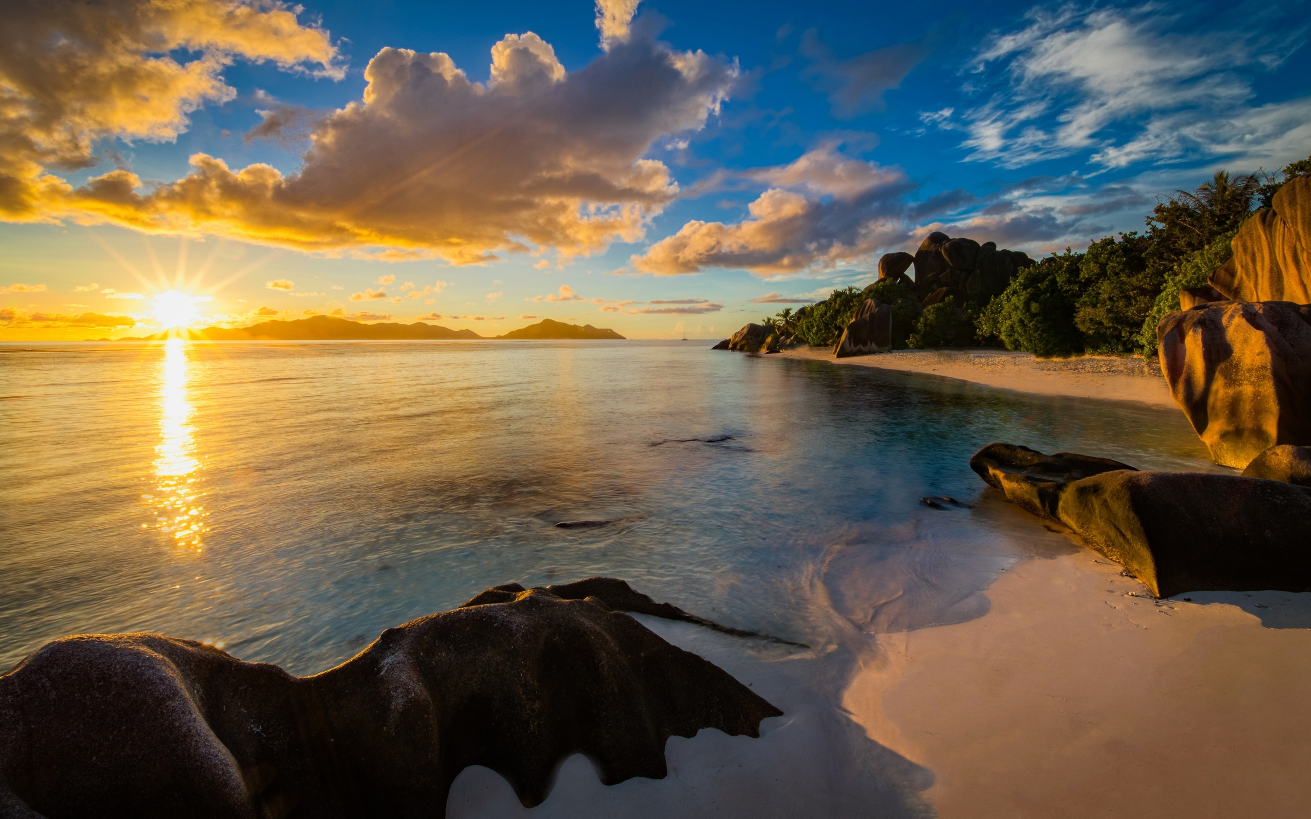 закат, океан, берег, песок, пляж