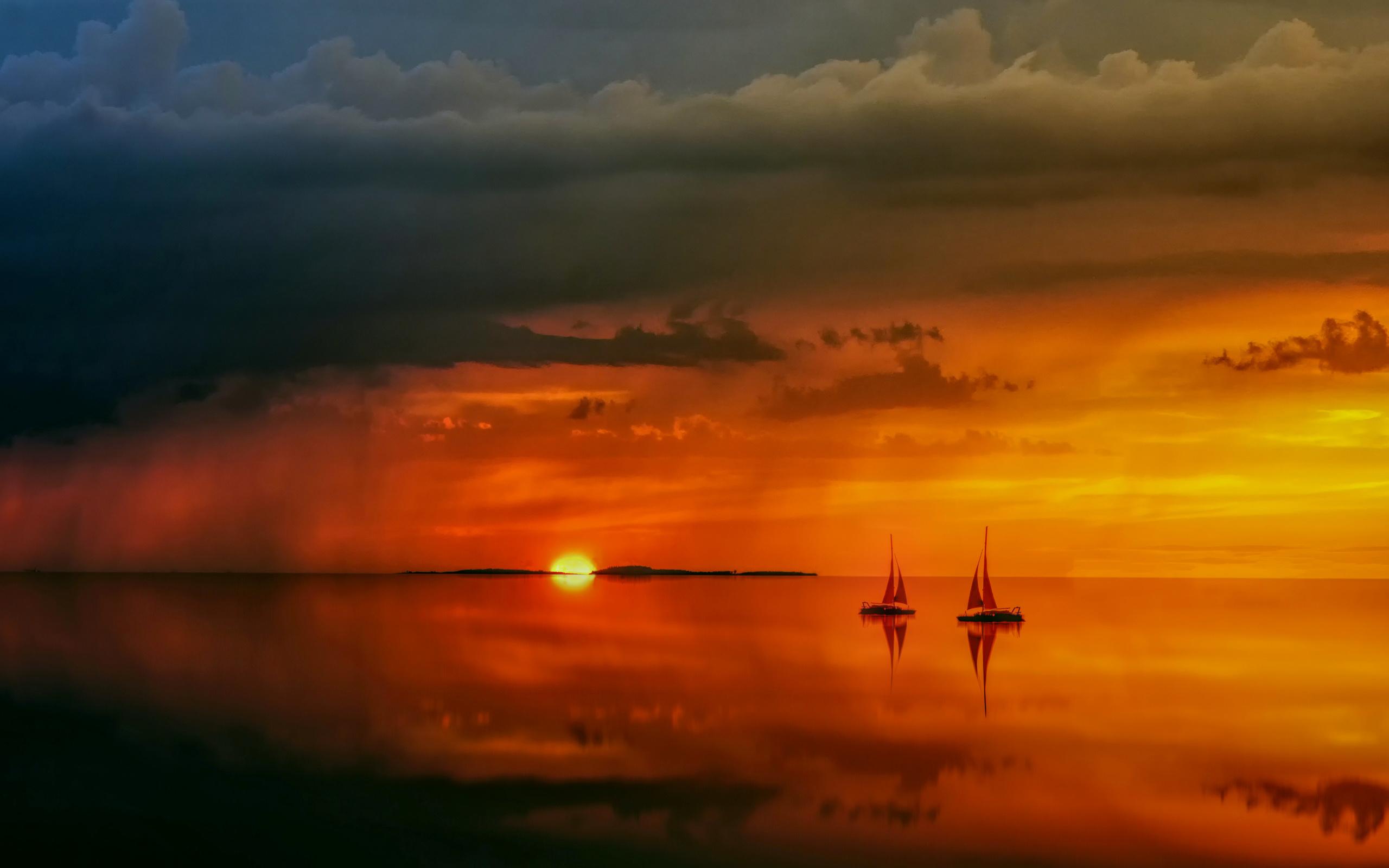 пейзаж, океан, заря, яхты, небо