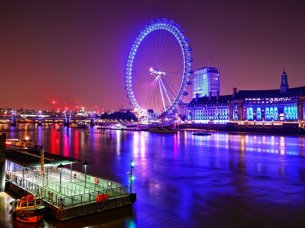 london, eye, at, night