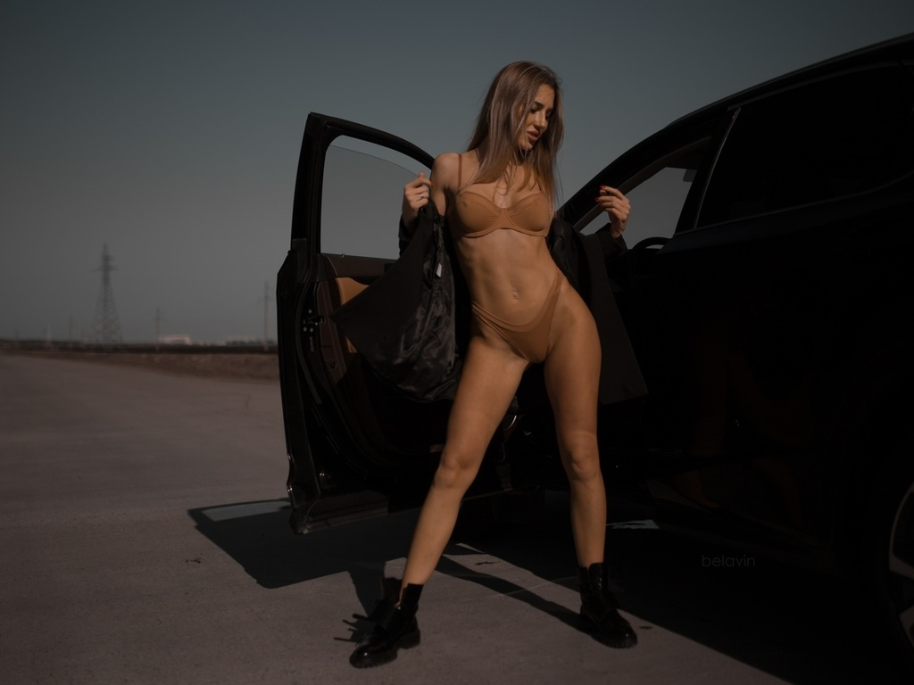 women, alexander belavin, brunette, shoes, lingerie, belly, women outdoors, car, women with cars, ribs, red nails, coats