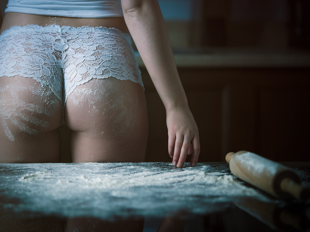 brunette, blonde, cute, sexy, women, kitchen, ass, pretty, flour, table, perfect, woman, beautiful, panties, hands, lingerie