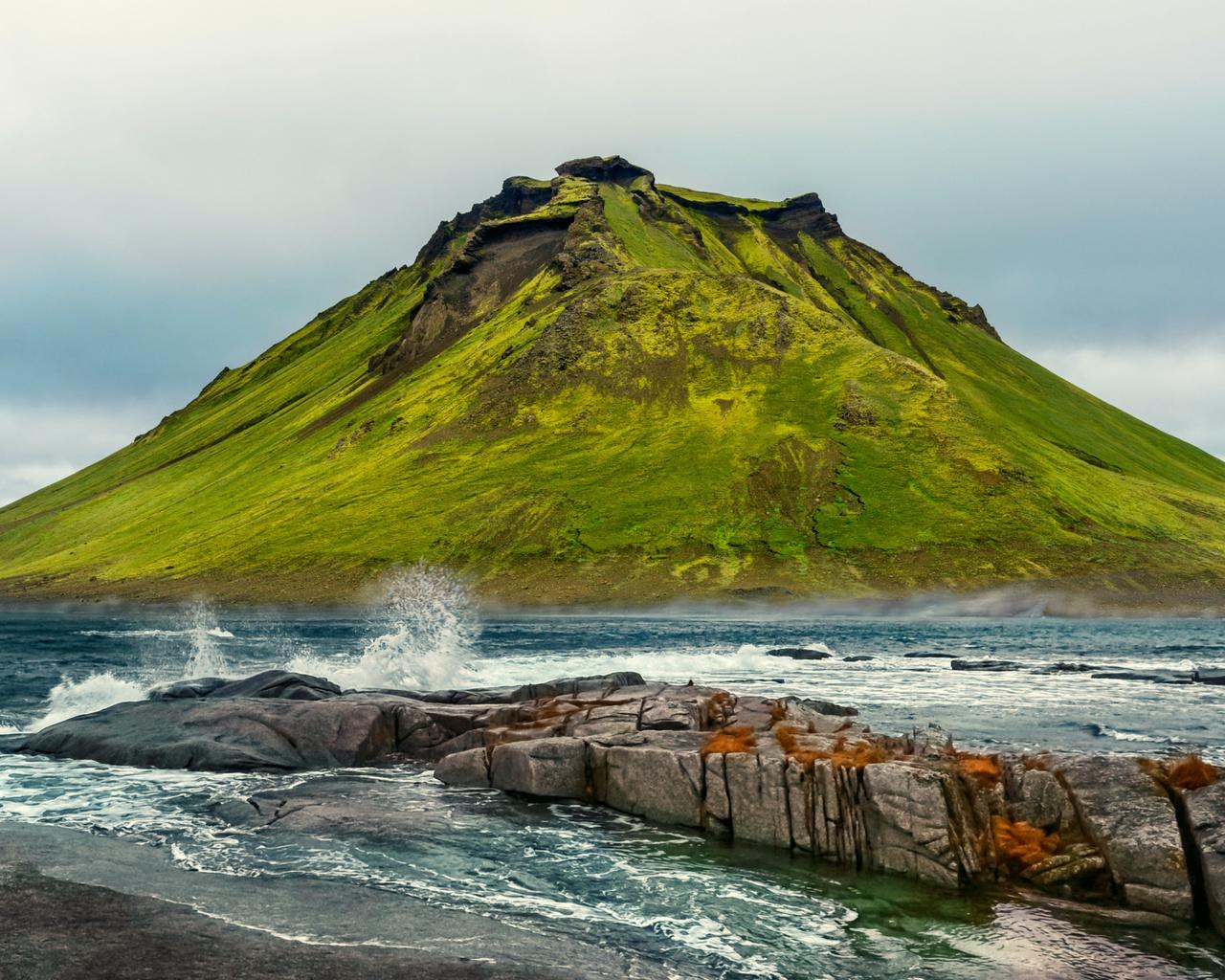 океан, гора, пейзаж