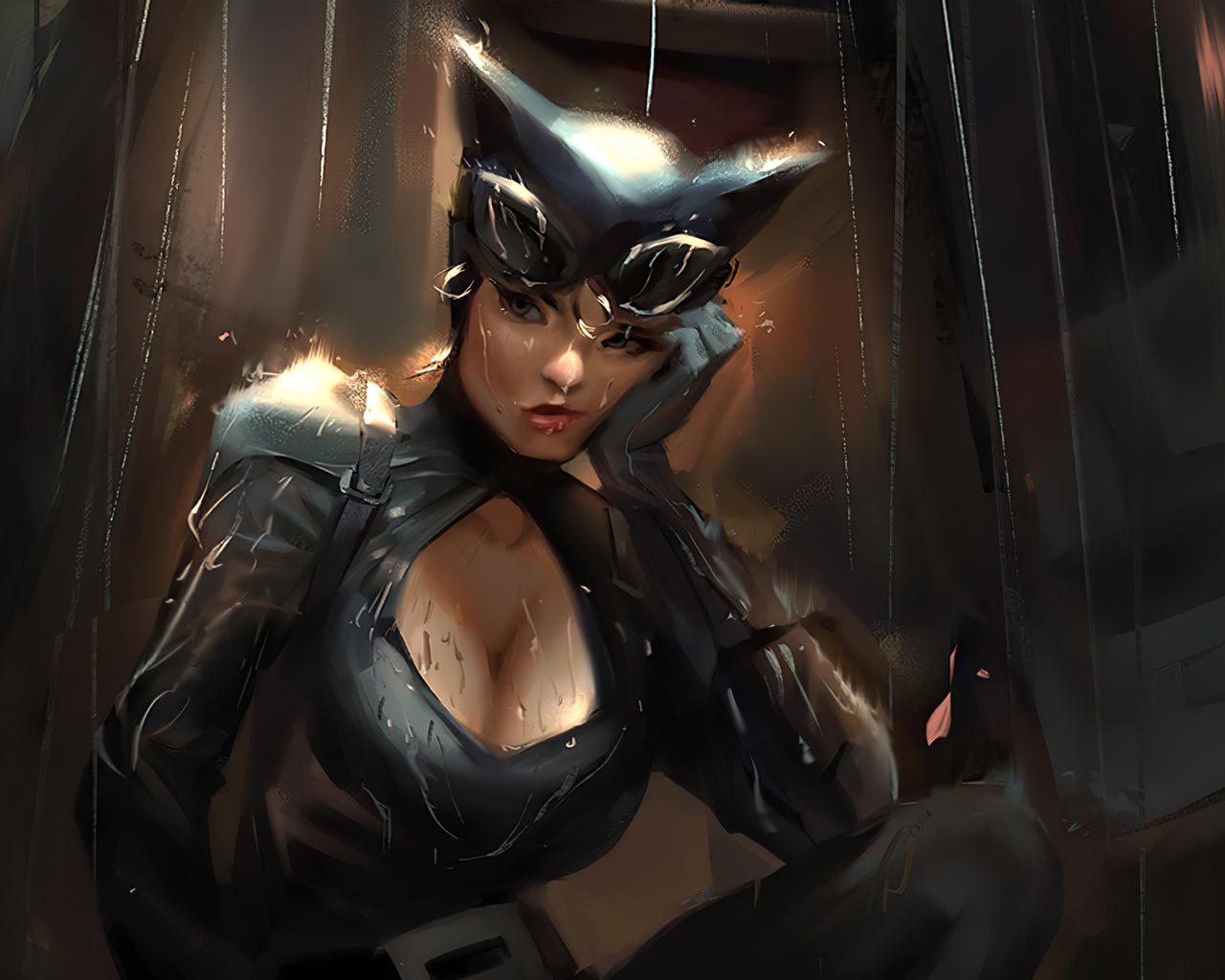 catwoman, in, rain